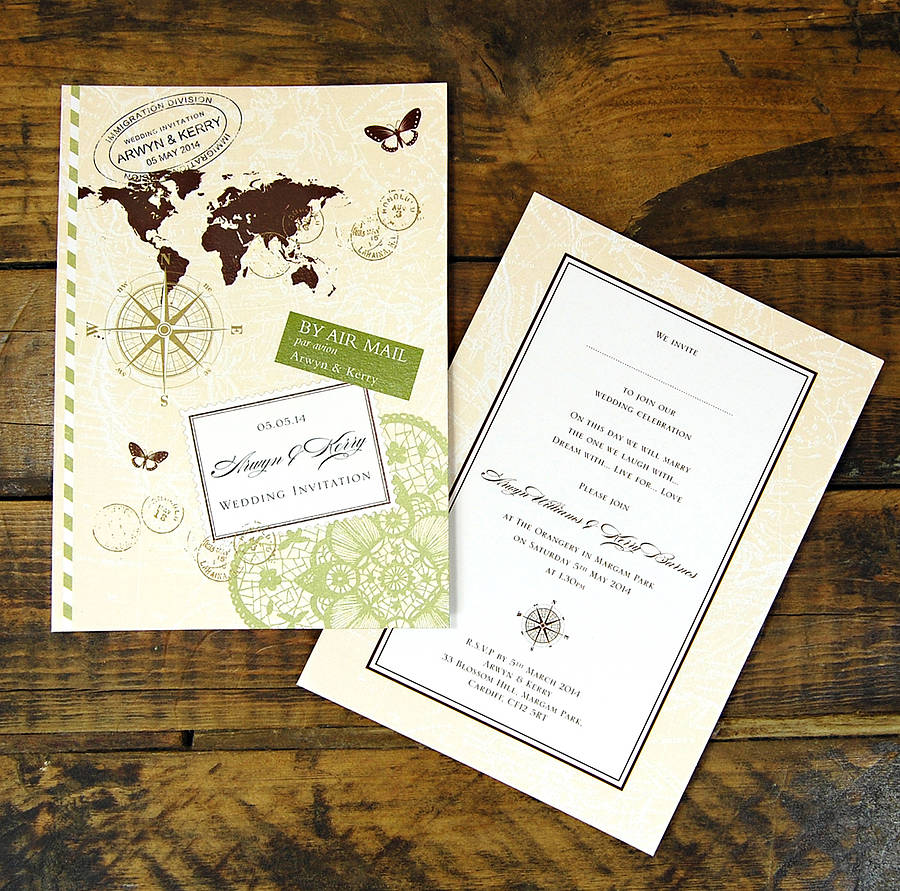 Wedding Invitation Postcard: Love Travel Wedding Invitation By Ditsy Chic