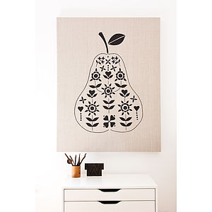Pear Appliqued Wall Hanging