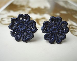 Lace Pansy Flower Studs - earrings