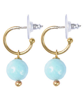 Amazonite Gold Plated Earrings