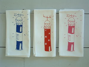 Set Of Four Lighthouse Napkins Now Reduced - bed, bath & table linen