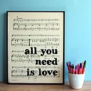 Beatles Lyrics Typographic Sheet Music Print