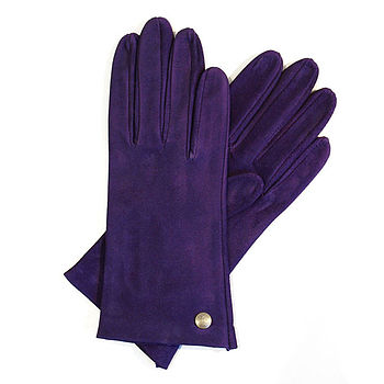 purple Thornecombe Suede Ladies Gloves
