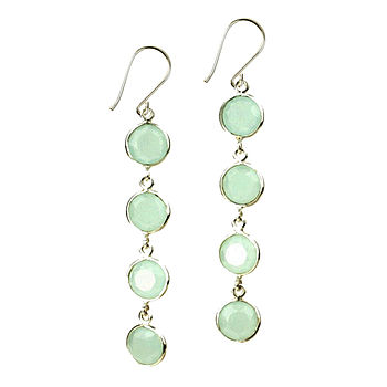 Aqua & Silver Coin Faceted Earrings
