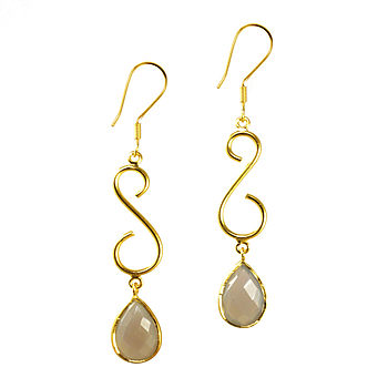 Gold Plate And Grey Chalcedony Earrings