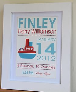New Baby Boy Gift - Boat Print - for new mothers