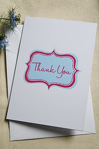 Pack Of Five 'Jessica' Thank You Cards