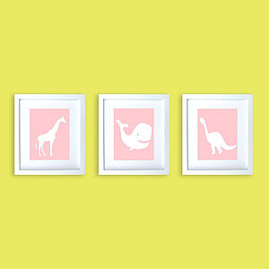 Three Nursery Animals Prints In Pink