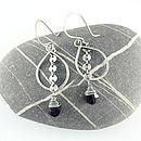 Handmade Sequin Gemstone And Silver Earrings