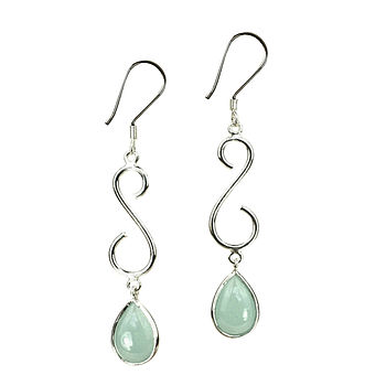 Silver And Aqua Chalcedony Earrings