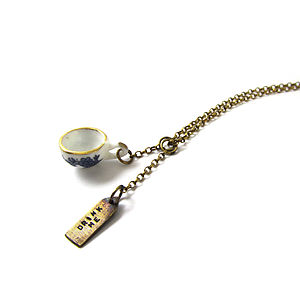 Drink Me Silver And Ceramic Tea Cup Necklace - necklaces & pendants