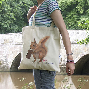 Illustrated Super Squirrel Tote Bag - shopper bags