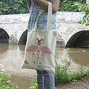 Illustrated Flamingo Love Cotton Tote Bag