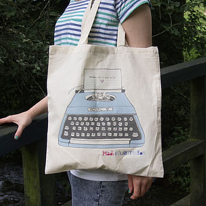 Illustrated Typewriter Cotton Tote Bag - shopper bags