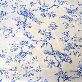 Blue Bird On White Linen Fabric
