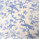 Blue Bird On White Linen Fabric