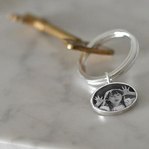 Personalised Silver Photo Key Ring - for her