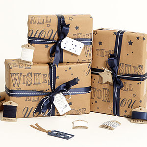 Recycled 'These Wishes' Brown Wrapping Paper - ribbon & wrap