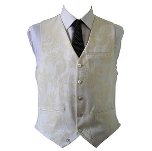 Damask Linen Wedding Waistcoat - coats & jackets