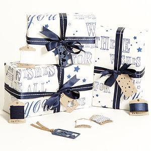 Recycled White 'These Wishes' Wrapping Paper - cobalt and coral