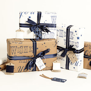 Recycled 'These Wishes' Gift Wrap Set - cards & wrap