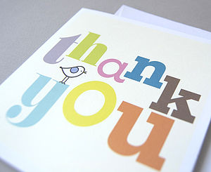 Six Thank You Cards - wedding stationery