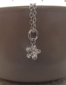 Personalised Mini Silver Flower Pendant