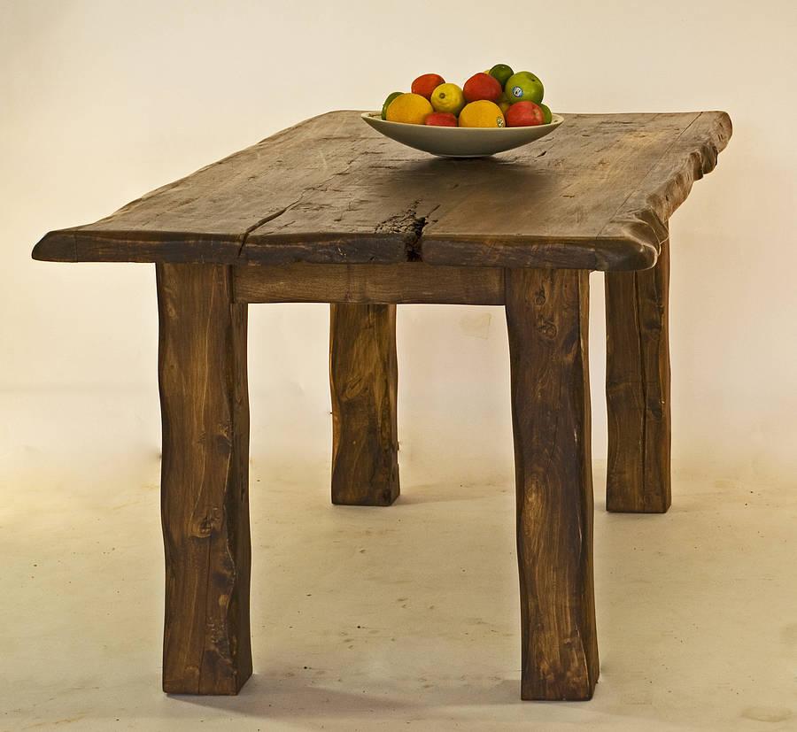 large rustic handmade wooden dining table by kwetu. Black Bedroom Furniture Sets. Home Design Ideas