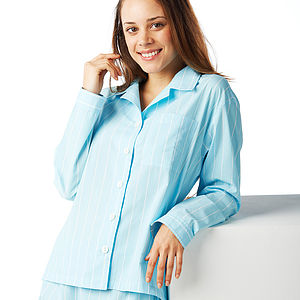 Turquoise & White Stripe Pyjamas - nightwear