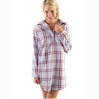 Ladies Brushed Cotton Check Nightshirt