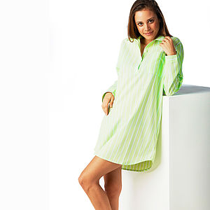Women's Lime Green Stripe Nightshirt - lounge & activewear