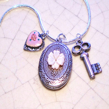 Silver Locket Charm Necklace