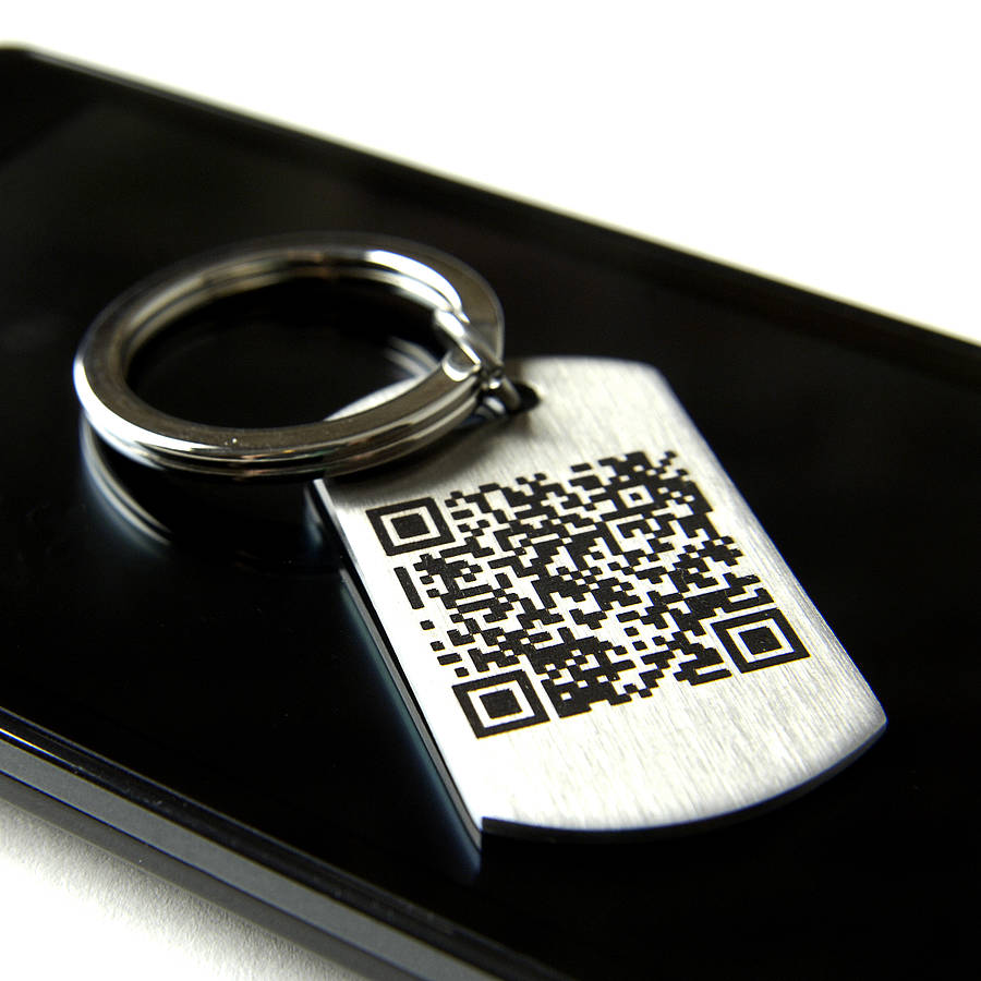 Personalised secret message qr code keyring by sally clay for Qr code dog tag