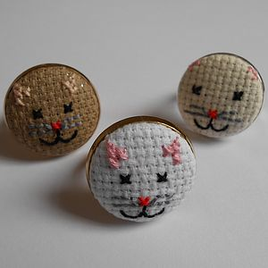 Cross-Stitch Kitten Ring - rings