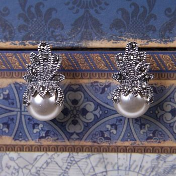 Vintage Style Marcasite Crown Earrings