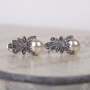 Vintage Style Marcasite Crown Earrings - earrings
