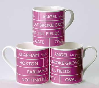 Bus Destination Mug, Pink