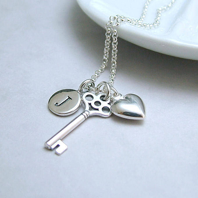 Personalised Silver Key And Heart Necklace