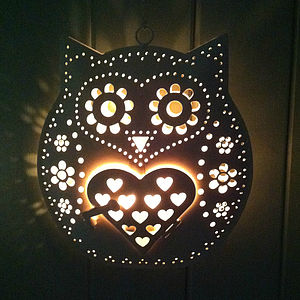 Retro Hanging Owl Tealight Holder - garden sale