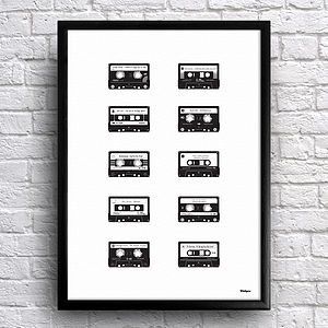 Personalised Mix Tape Cassettes Print - music inspired art