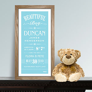 Personalised New Baby Boy Print - pictures & prints for children