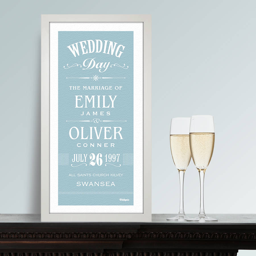 Personalised Wedding Print By Wallspice