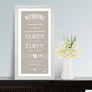 Personalised Wedding Anniversary Print - dates & special occasions