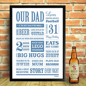 Personalised Dad Memory Print - Blue