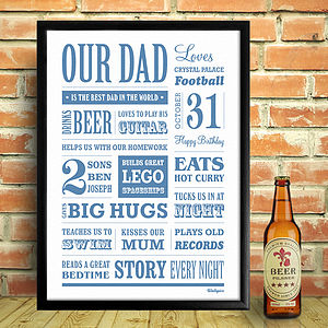 Personalised Dad Memory Word Art Print - gifts for fathers