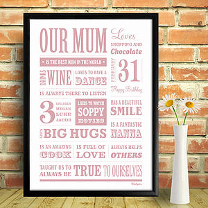 Personalised Mum Memory Word Art Print - gifts for mothers