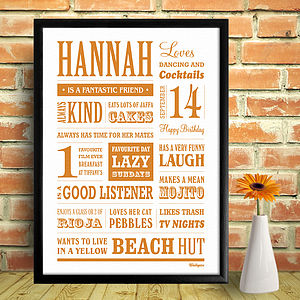 Personalised Name Memory Word Art Print