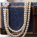 Three Strand Rhinestone Pearl Necklace
