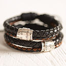 Personalised Leather Scroll Bracelet