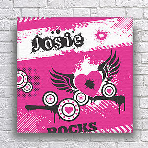 Personalised Hearts Teens Canvas